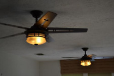 "52"" Unique Mission Ceiling Fan + Remote Industrial Bronze Coastal Cabin Light"