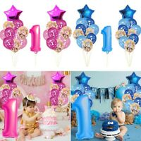 First 1st Birthday Number 1 Boy Girl Foil Balloon Baby Party Decoration Balloons