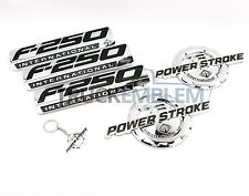 5 NEW CUSTOM CHROME F250 7.3L POWERSTROKE INTERNATIONAL FENDER BADGES TAILGATE
