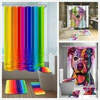 4pcs Set Multi Type Shower Curtain + Bathroom Mat Rug Toilet Seat Cover Bath Pad