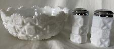 WESTMORELAND WHITE MILK GLASS CANDY SALT & PEPPER & BOWL OLD QUILT PATTERN