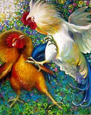 """FIGHTING ROOSTERS 24X20""""Realistic Art Birds Original Oil Painting New Bykova"""