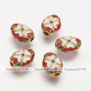 5 x Oval Red Alloy Flower Pattern Enamel Beads Jewelry Making Crafts 14x10x5mm