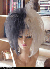 SIN CITY WIGS HOT WILD HAIR! HALF BLACK & WHITE STRAIGHT SHORT POINTY PAGE SEXY!