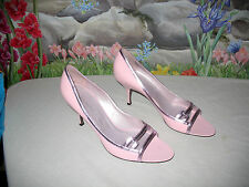 New $435 JEAN-MICHEL CAZABAT Pink Leather Heels Shoes 9 / 40