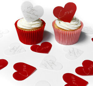 Cupcake Toppers Happy Valentines Day Love Pre-cut Paper Decoration 40mm x12