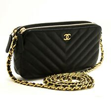 R96 CHANEL Authentic Lambskin V-Stitch Wallet On Chain WOC Double Zip Chain Bag