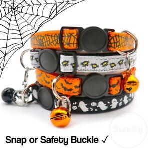 Spooky Halloween Cat Kitten Collar Safety or Snap Adjustable Bell Bat Ghost