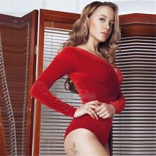 Womens Stretch Bodysuit Long Sleeve Lingerie Leotard Tops Body Jumpsuit T-shirt