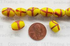 Yellow French Cross Trails Antique  Trade Beads   10 Pc     CL47    RT
