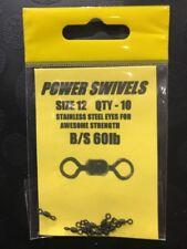 Power Swivels Size 12 B/S 60lb Pack Qty 10 - Carp Catfish Pike, Sea Fishing etc