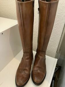 LOTTUSSE SELECTION BROWN KNEE HIGH LEATHER BOOTS SIZE 38/5 (152BB)