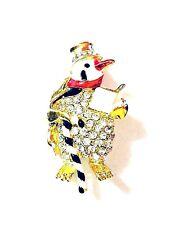 Valentine Silver Crystal Diamante Rhinestone Style Penguin Brooch Pin Badge