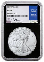 2017 American Silver Eagle NGC MS70 (Black Core Holder Mercanti Signed) SKU47233