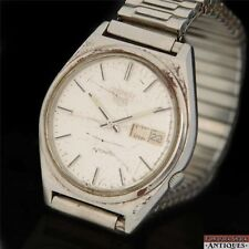 1982 Seiko 5 17J Automatic Day Date Mens Stainless 7009-3140 For Parts of Repair