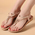 Womens Bohemia Sandals Summer Beach Casual Flat Shoes Thong Slippers Flip Flops