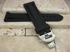 22mm Black Soft Rubber Diver Strap & Deployment Buckle Set PAM 40 C 22 mm