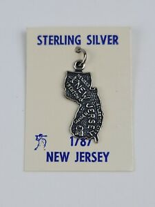 Vintage 1787 Sterling Silver New Jersey State Map Travel Souvenir Charm NEW