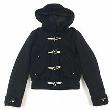 Topshop Women's Black Wool Blend Long Sleeve Hooded Toggle Zip Warm Jacket Sz 6