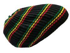 Black Rasta Hat Dreads Dreadlocks Tam Beret Slouchy Cap Dreads Beanie Hair L/XL