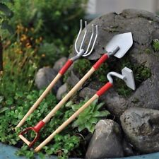 Fairy Garden Fun Garden Tools Shovel Pitch Fork Hoe Set Figurine Mini Dollhouse