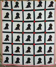WONDERFUL Vintage Puppy Dog Applique Antique Quilt ~Red Houndstooth Border!