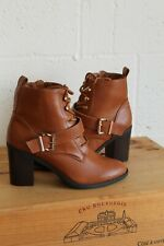 BROWN FAUX LEATHER CHUNKY HEEL ANKLE WORKER MILITARY STYLE BOOTS SIZE 6 39 USED