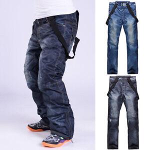 Men Winter Denim Jeans Ski Pants Outdoor Sports Snowboard Windproof Trousers 3XL