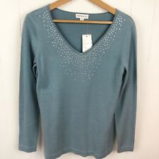 Susan Graver Womens S Small Sweater Blue V Neck Jeweled Embellished NWT