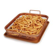 New 2-Piece Copper Crisper Oven Air Fryer Pan Basket Set Non Stick As seen on tv