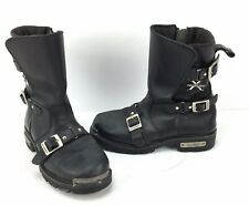 Xelement LU1456 Leather Zipper & Buckle Motorcycle Boots Mens Size 8.5  Black