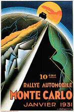 1931 Vintage Auto Sportiva Monte Carlo MOTOR RALLY francese Poster Art Print A4
