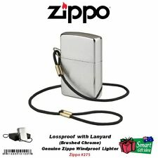 Zippo Brushed Chrome Lighter, Lossproof w/ Lanyard #275