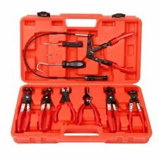 9pcs Wire Long Reach Hose Clamp Pliers Set Fuel Oil Water Hose Tool w / Case