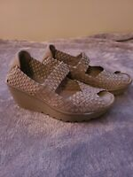 Sketchers Metallic Taupe Woven Mary Jane Wedge Open Toe Shoes Women's Size 7