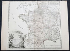 1758 Robert De Vaugondy Large Antique Map of France and Postal Roads