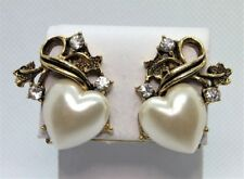 Gold Tone Clip Earrings With Heart Shaped Faux Pearls and Rhinestones signed EH
