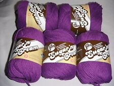 """5 Skeins, Lily, """"Sugar 'N Cream"""", Black Currant, 100% Cotton Yarn"""