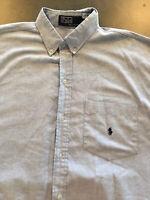 Mens Ralph Lauren Polo Short Sleeve Shirt Sz XL Pocket Pony Logo Blue EUC