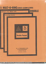 (AP25) 5 X DOUBLE COVER ALBUM LEAVES STAMP ALBUM PAGES LEAVES 235MM X 275MM