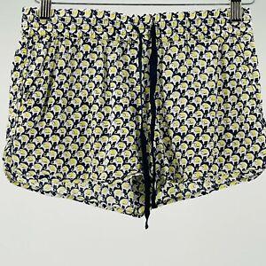 JOIE sz xxs women's shorts yellow white blue elephant print drawstring w pockets