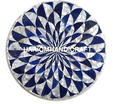 """15"""" Marble Corner Table Top Lapis With Seashell Inlay Collectible Art Decor M148"""