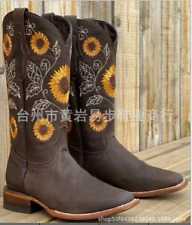 Womens Embroidery Mid-calf Riding Boots Low Heel Round Toe Combat Western Shoes