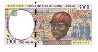 EQUATORIAL GUINEA 5000 Central CFA Francs aUNC Banknote (2000) P-504Nf Sign 19 N