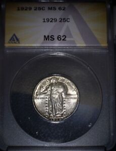 1929 Standing Liberty Quarter, ANACS  MS62 , Beautiful Example, Issue Free