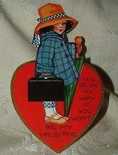 Fine 1930s I'll Be On My Way If You Won't Be My Valentine Girl Suitcase Umbrella
