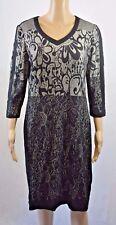 Gerry Weber Dress Size 12 Black Beige Pattern 3/4 Sleeve Now