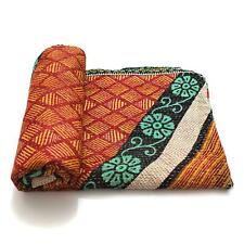 Vintage Kantha Quilt Indian Handmade Cotton Bedspread Counterpane Blanket Throw