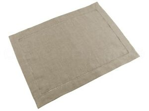 """6 Pack - Natural Linen Hemstitched Placemats - 14"""" x 20"""" - 100% Pure Linen"""