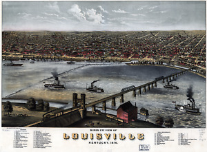 """Bird's Eye View of Louisville KY 1876 Vintage Map Poster 11"""" x 17""""  Reprint"""